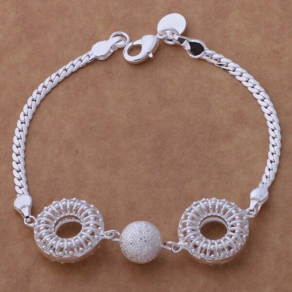 AH198 pulsera de plata esterlina caliente, joyería de moda esterlina doble Hueco/aokajfra bcmajtta color plata