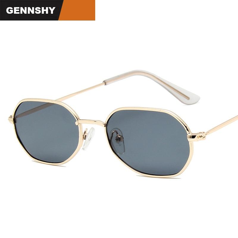 2018 Fashion Anomaly Sunglasses Men Polygon Small Sunglasses Retro Brand Design Sunglasses Gold Fram