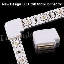 Novo 2016 5x4 pinos led conector l forma para conectar canto ângulo direito 10mm 5050 led tira luz rgb cor