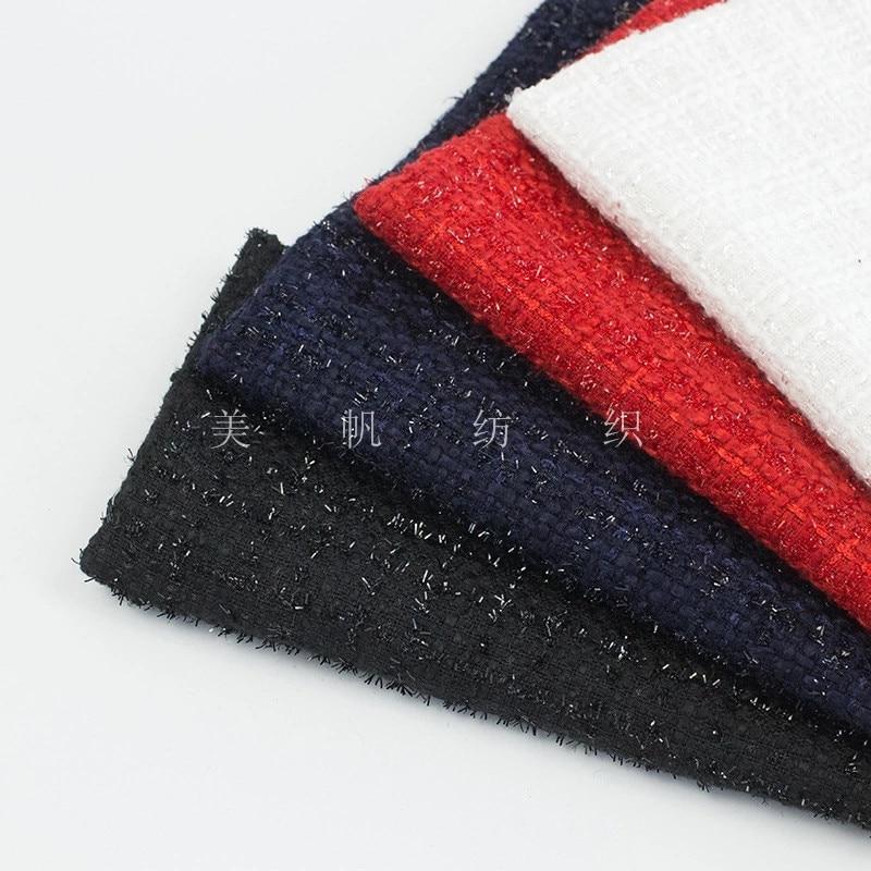 2 metros casaco de tecido Tweed tecido com seda brilhante 500gsm