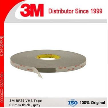 شريط أكريليك VHB 3M VHB 25/ 3M ، شريط رمادي بسمك 0.6 مللي متر ، 1 بوصة × 3 م/لفة ، 1 لفة/دفعة