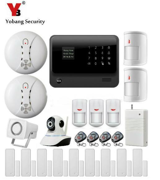 Yobang Sicherheit 2,4G WiFi GSM GPRS SMS Wireless Home Security Einbruchmeldeanlage Wifi IP Kamera Rauchmelder