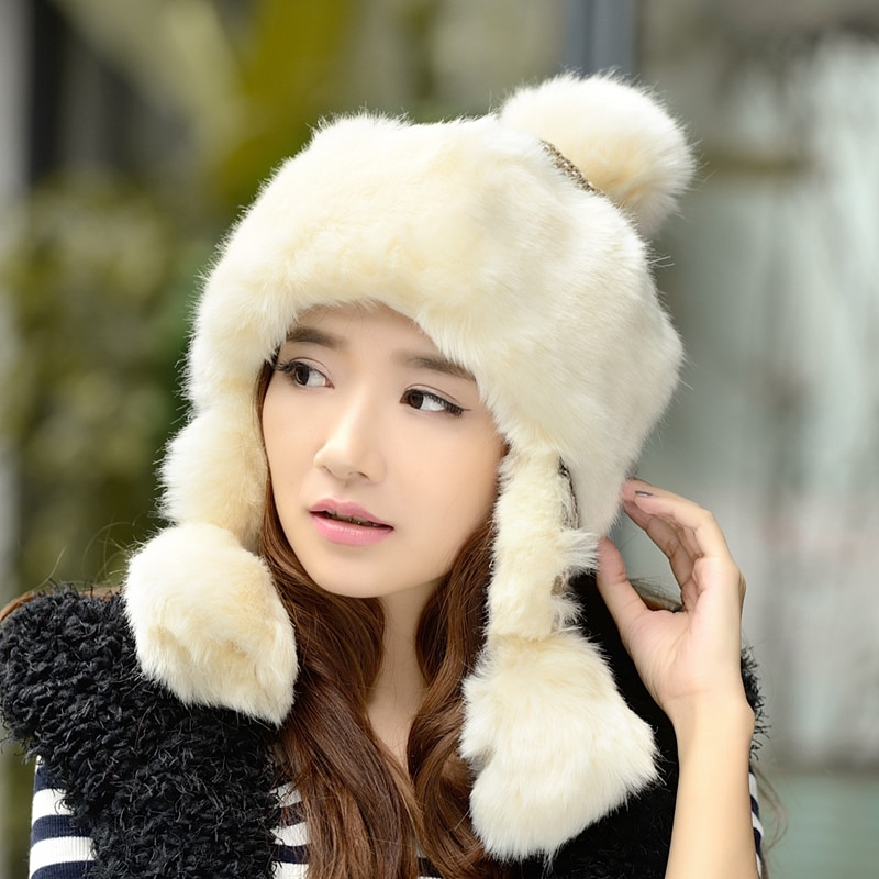 Women Sweet Winter Bomber Hat Earflap Thick Warm Thermal Female Cap Knitted Faux Rabbit Fur Fashion