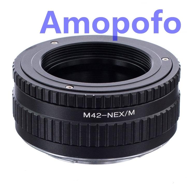 Amopofo M42-NEX/M adaptador M42 lente de montaje de tornillo A SonyE adaptador de montaje NEX Macro de enfoque helicoidal NEX-3, NEX-5, A5000, A6000, A