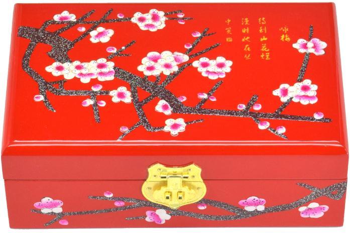 Caixa de Laca de Madeira Novo Chinês Clássico Artesanal Red Plum Blossom 2 Camadas &