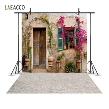 Laeacco Old Rural Village House Window Door Flower Yard Porch Wreath Scene Photo Backgrounds Photographic Backdrops Photo Studio