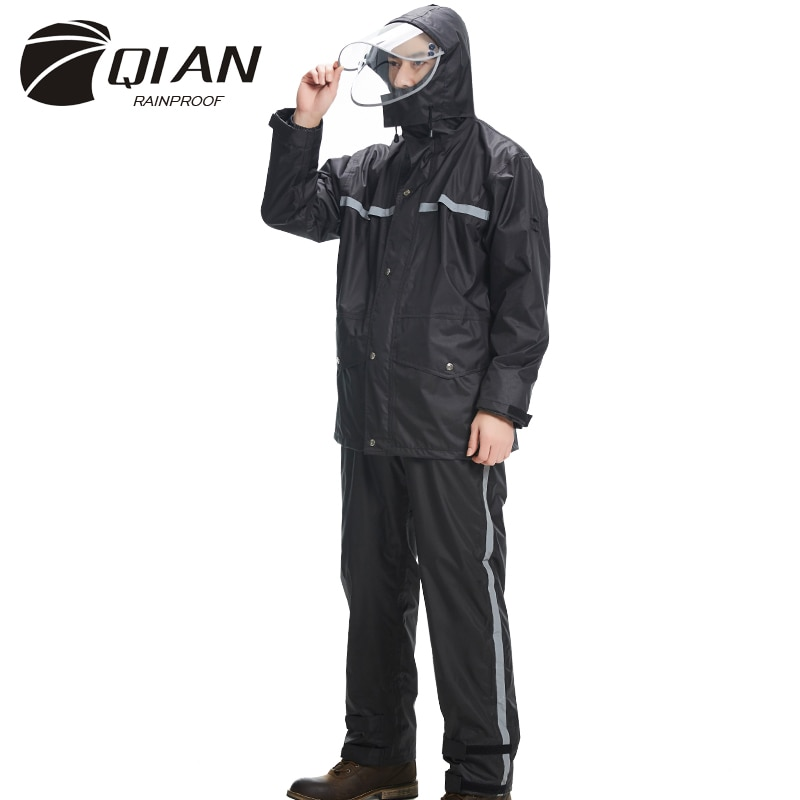 QIAN Impermeable nueva Impermeable chaqueta de adulto pantalones Set Unisex lluvia Poncho más grueso policía lluvia equipo moto Impermeable
