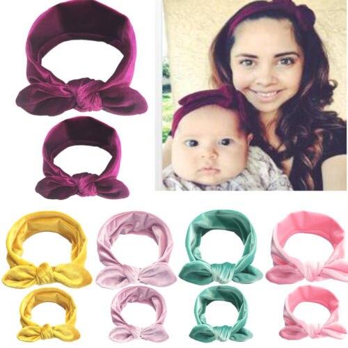 Moda 2 unids/set Mom madre e hija niños bebé niña lazo nudo diadema accesorios de bandas para el cabello