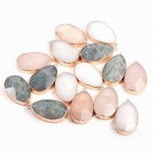 Pendentif en pierre naturelle AAA Rose Quartzse Flash Labradorite collier en pierre pendentifs charmes pour la fabrication de bijoux colliers bricolage