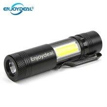 2000 lumenów Q5 LED latarka Mini lanterna Q5 LED + COB latarka LED przenośna lampka Clip Penlight 4 tryby dla baterii AA/14500 2019