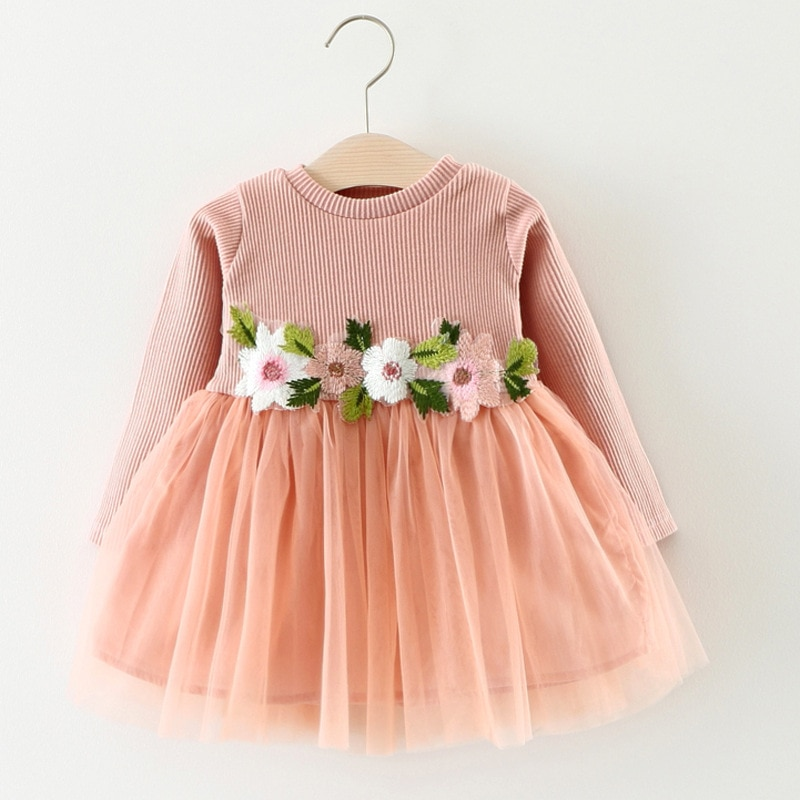 2019, Vestido de manga larga para bebé, ropa para niña, vestidos de niña pequeña con flores, vestidos para fiesta de tul de princesa con encaje de primavera