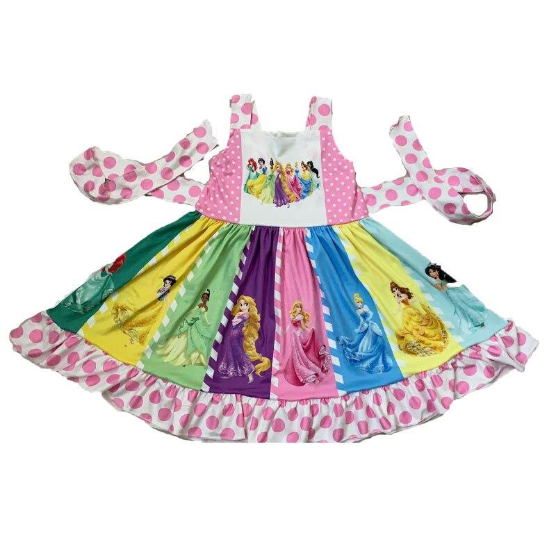 Wholesale/retail party dress baby girls cute cartoon strap dresses summer boutique kids twirl frocks