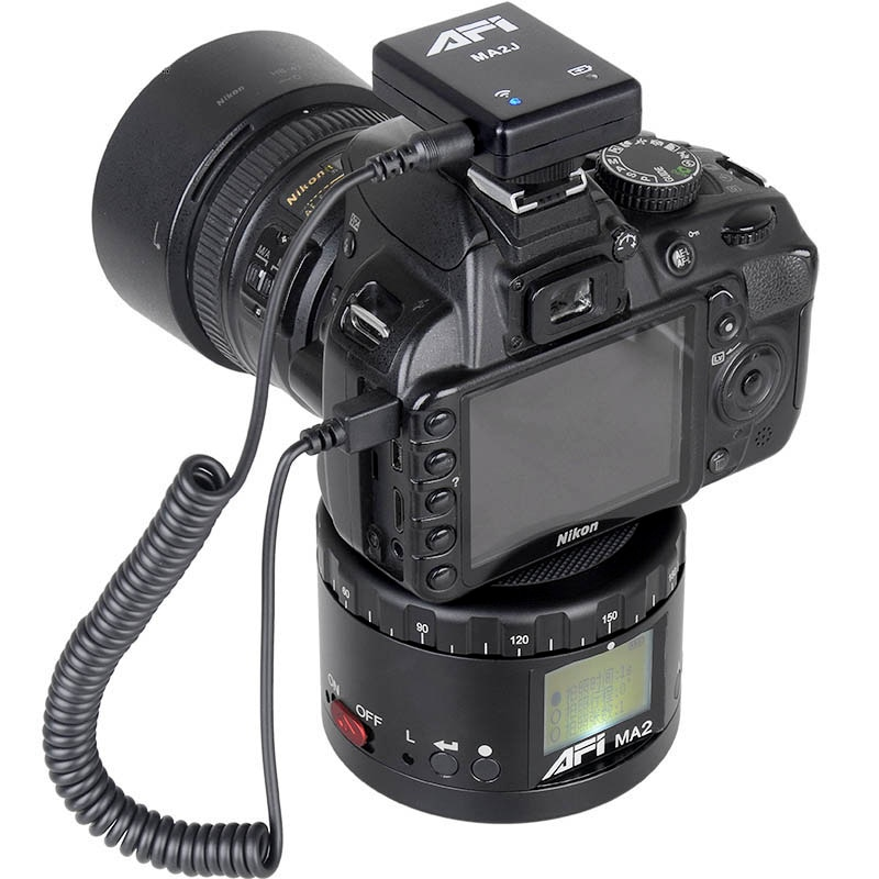 AFI Ma2 Aluminum LED Electronic Panorama Head Time Lapse Panoramic Tripod For Camera/Phone Stabilizer Rotation 360 Timelapse