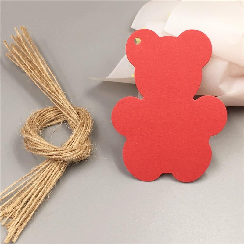 100 Pcs 8x6 cm Kraft Tag Cartão de Papel + 100 Cordas Preço Etiqueta Com Projeto do Urso Encantador Para bolo de aniversário Caixa de Doces Por Atacado Vestuário