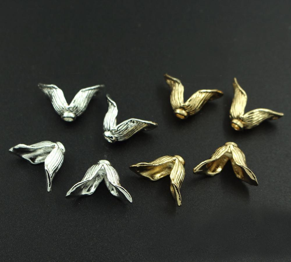 خرز نحاسي معدني 14 × 15 مللي متر ، 2 بتلات على شكل زهرة ، قبعات شرابة ، سحر عالي الجودة ، مطلي بالذهب والفضة ، DIY ، صناعة المجوهرات