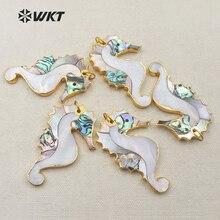 WT-P1251 spécial nouveau pendentif Animal coquille cheval de mer avec pendentif garniture en or pour les femmes accessoire de collier de mode