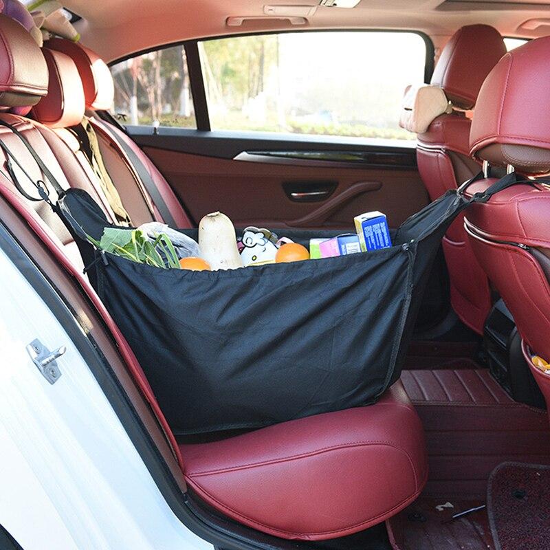 Bolsa de almacenamiento trasera multifunción de alta capacidad para coche, cesta de la compra, contenedor con acabado Interior para coche