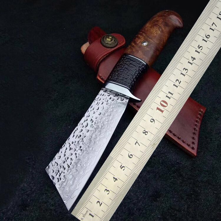 Cuchillo militar táctico hecho a mano de supervivencia para acampar cuchillo VG10 con mango para caza al aire libre con funda de ébano 60 HRC estilo de Samurai japonés