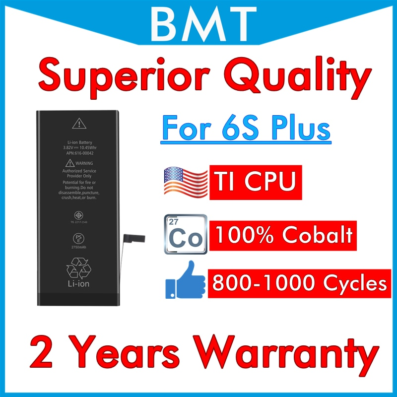 BMT Original 10pcs Superior Quality Battery for iPhone 6S Plus 6SP 6S+ iOS 13 replacement 100% Cobalt Cell + ILC Technology 2019