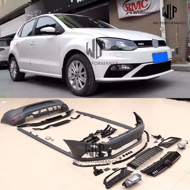 Difusor trasero de parachoques delantero de coche sin pintar PP estilo Polo GTI para Volkswagen Polo GTI kit de carrocería 2011-2015