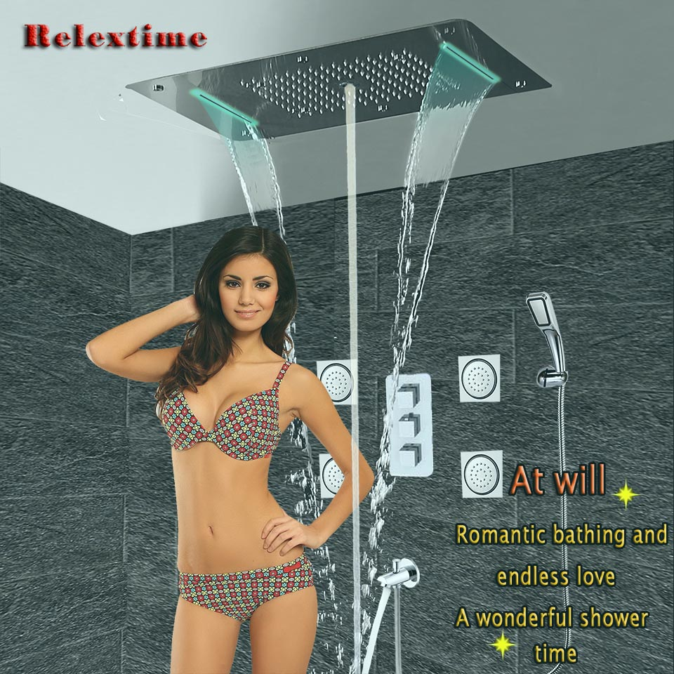 Relextime-مجموعة صنبور دش ثرموستاتي ، 6 وظائف ، رأس دش مطري LED ، صنبور شلال ، 6 اتجاهات ، للحمام
