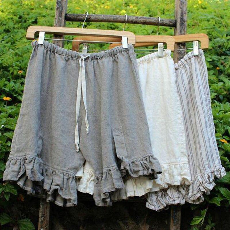 Pantalones cortos informales de talla grande de lino de color liso y cintura alta para mujer szorty damskie