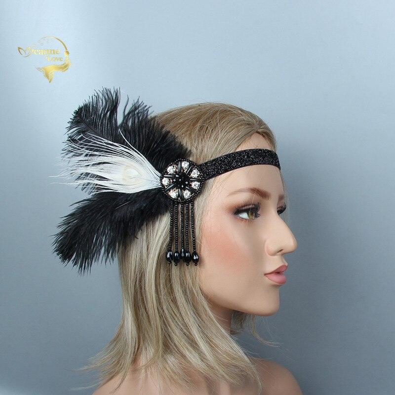 Весенняя мода 2019, свадебная повязка на голову, черные и белые перья, серебряные стразы, украшение для волос, свадебный головной убор JWH004