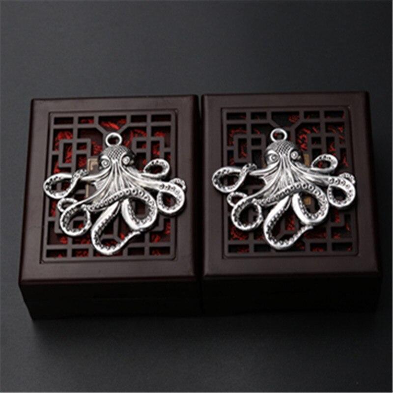 WKOUD 2 uds. Color plata pulpo de Metal Wang encanto collar llavero DIY moda colgantes de aleación con pedrería 54*53mm A899