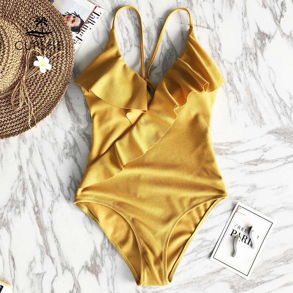 CUPSHE Happy end Gelb Feste einteiliges Badeanzug Falbala v-ausschnitt Rüschen Sexy Monokini 2020 Damen Strand Badeanzug bademode