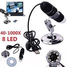 2MP USB цифровой микроскоп 1000X эндоскоп зум Камера лупа + стенд устройство 8 светодиодный микроскоп Эндоскоп камера водонепроницаемый USB