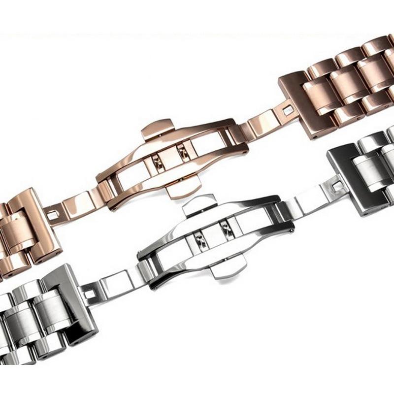 Купить с кэшбэком 20mm Stainless Steel Watch band Strap Bracelet Watchband Wristband Butterfly clasps Black Silver Rose Gold