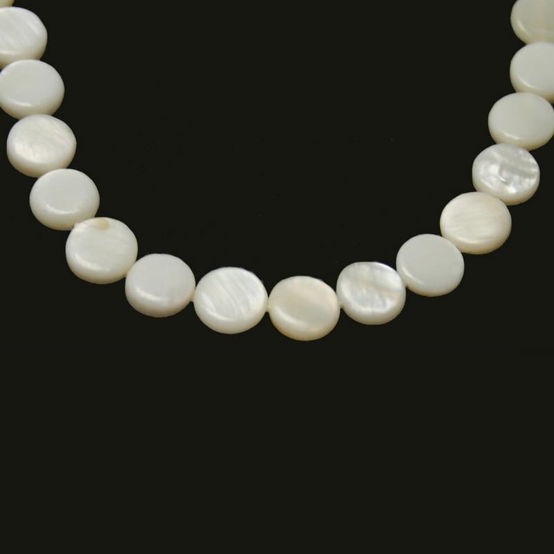 خرز ممسحة من قشرة المياه العذبة الطبيعية ، شكل دائري ومسطح ، أبيض ، للأساور والقلائد والمجوهرات المصنوعة يدويًا ، لهدايا النساء ، 42 قطعة