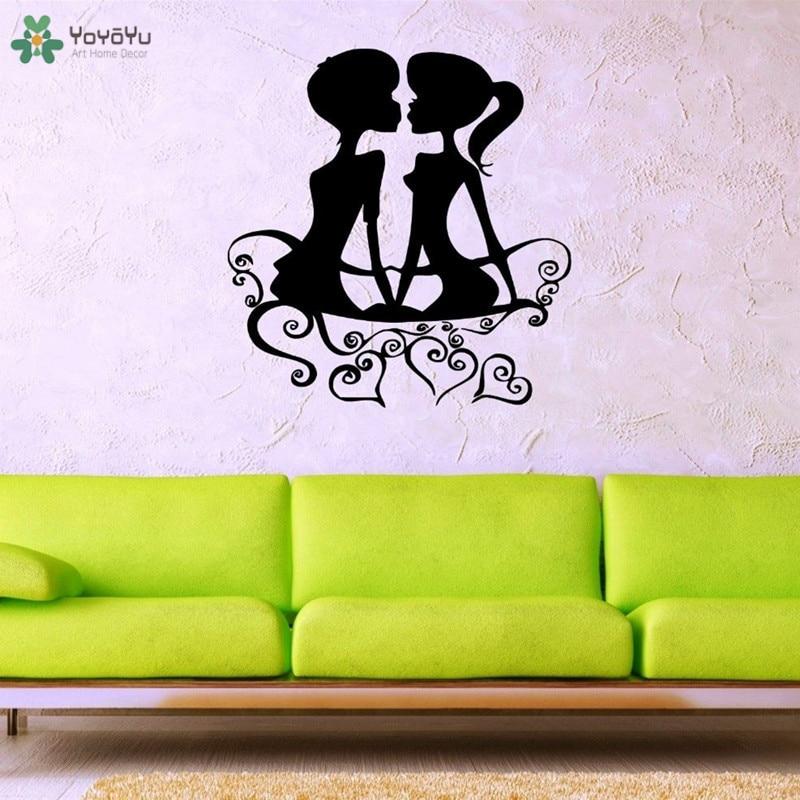 Calcomanía de pared yoyoyu romántica pareja vinilo pegatinas de pared diseño de amor dormitorio cabecera extraíble decoración del hogar arte para interiores MuralCT57