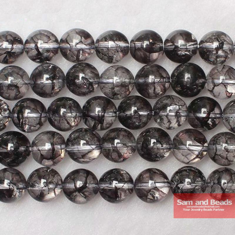 "Free Shipping Natural Stone Ice Cracked black Quartz Beads 16"" pick size 6 8 10 12mm For Bracelet Necklace Making BQB40"
