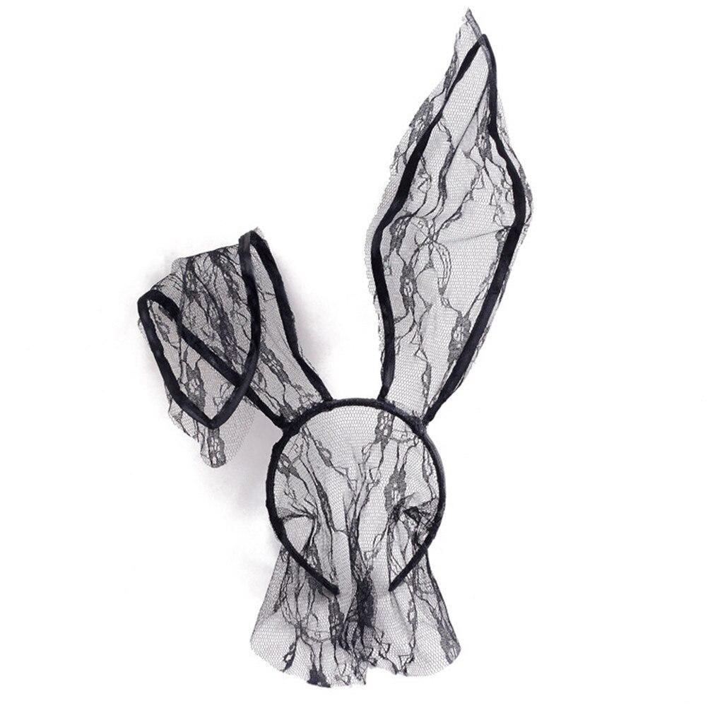Máscara negra de ojos con velo y Orejas de conejo de encaje Sexy para fiestas y fiestas para mujer