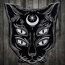 Borduurwerk Applique patch Dominante zwarte Maan Kat Ijzer op Stickers Patch Kleding voor T-shirt jassen patch naaien