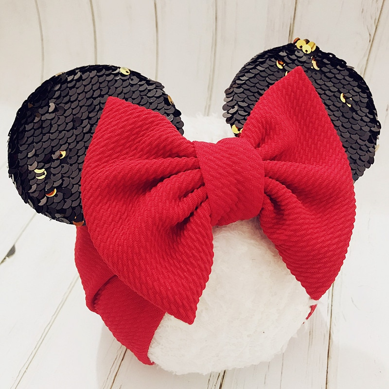 Diadema para bebé, diadema de orejas de Minnie para niñas, diademas para niñas, recién nacidas con lazos, cinta para bebé, turbante para bebé