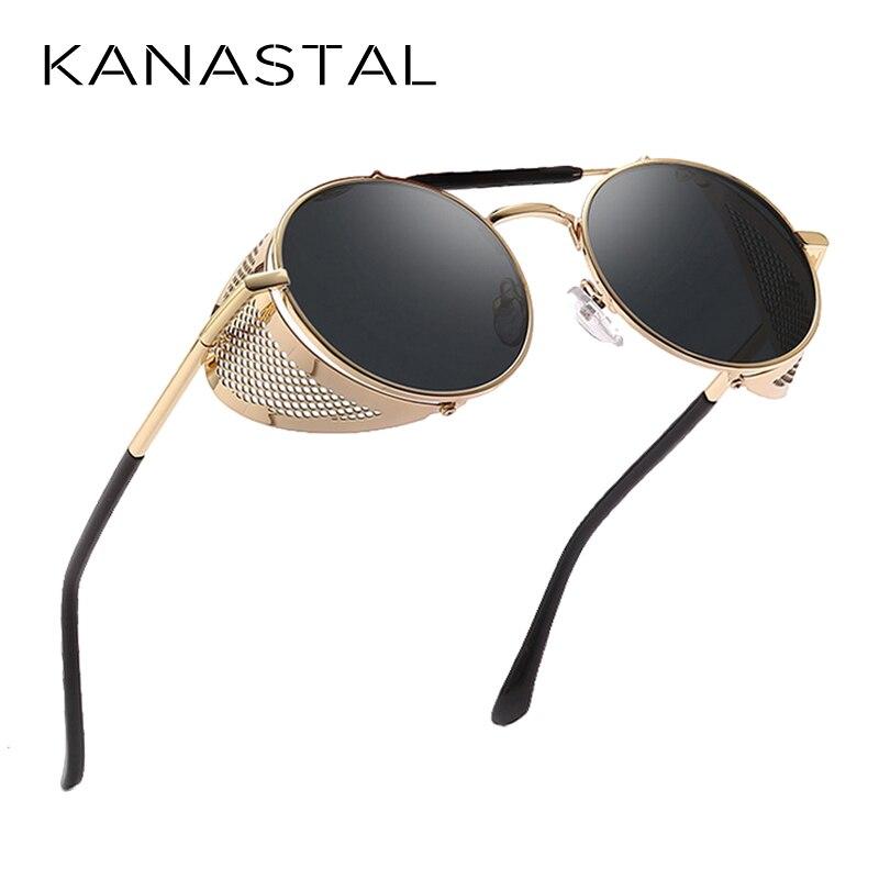 Retro Round Steampunk Sunglasses Men Women Side Shield Goggles Metal Frame Gothic Mirror Lens Sun Glasses