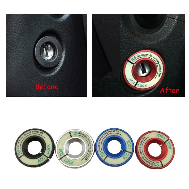 Pegatinas de aluminio para coche, llave de bloqueo de encendido, Ojo de cerradura para Audi A1 A3 Q3 TT Volkswagen Golf Scirocco Tiguan Jetta anillo de decoración