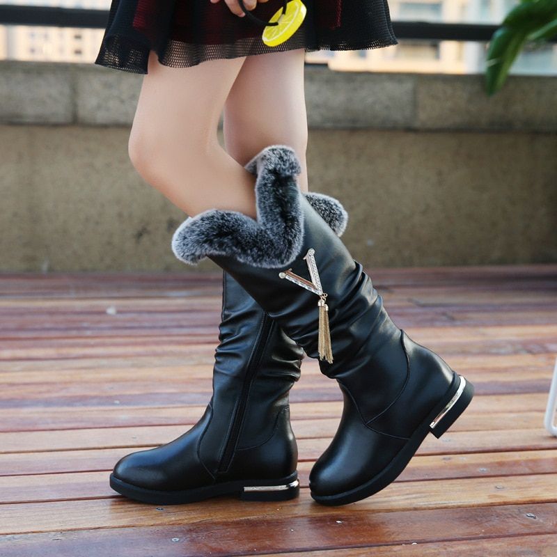 New girls' boots for autumn and winter, large children's cashmere boots, genuine leather children's snow boots, rabbit fur boots enlarge