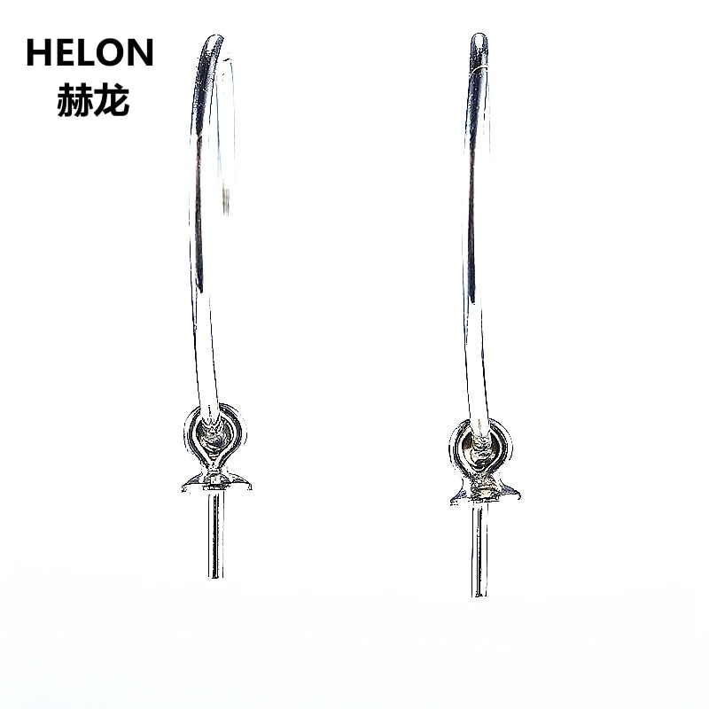 925 Sterling Silver 4-6mm Pearl or Round Bead Semi Mount Earrings Fine Jewelry Setting Women Charming Cute Romantic DIY Stone