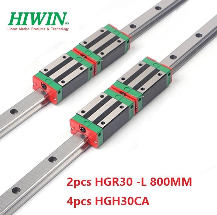 2pcs 100% original Hiwin linear rail linear guide HGR30 -L 800mm + 4pcs HGH30CA linear narrow block for cnc router