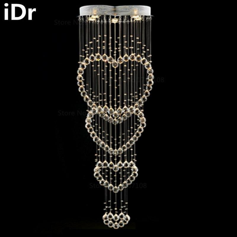דופלקס באיכות גבוהה סלון וילה נברשת מנורת קריסטל יצירתי בוטיקים אורות מסעדת נברשת מדרגות