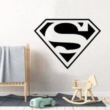 Quente superman decalques adesivo de parede para o bebê crianças quartos decoração da parede arte mural da escola quarto adesivos de parede cartaz