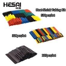 127pcs/lot Heat Shrink Tubing 7.28m 2:1 Black Tube Car Cable Sleeving Assortment Wrap Wire Insulation Materials  DIY Kit 328pcs