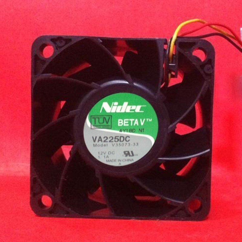 Nidec VA225DC V35073-33 6038 DC 12V 1.1A 60*60*38mm 3 Line Two Ball Bearing Server Cooling Fan