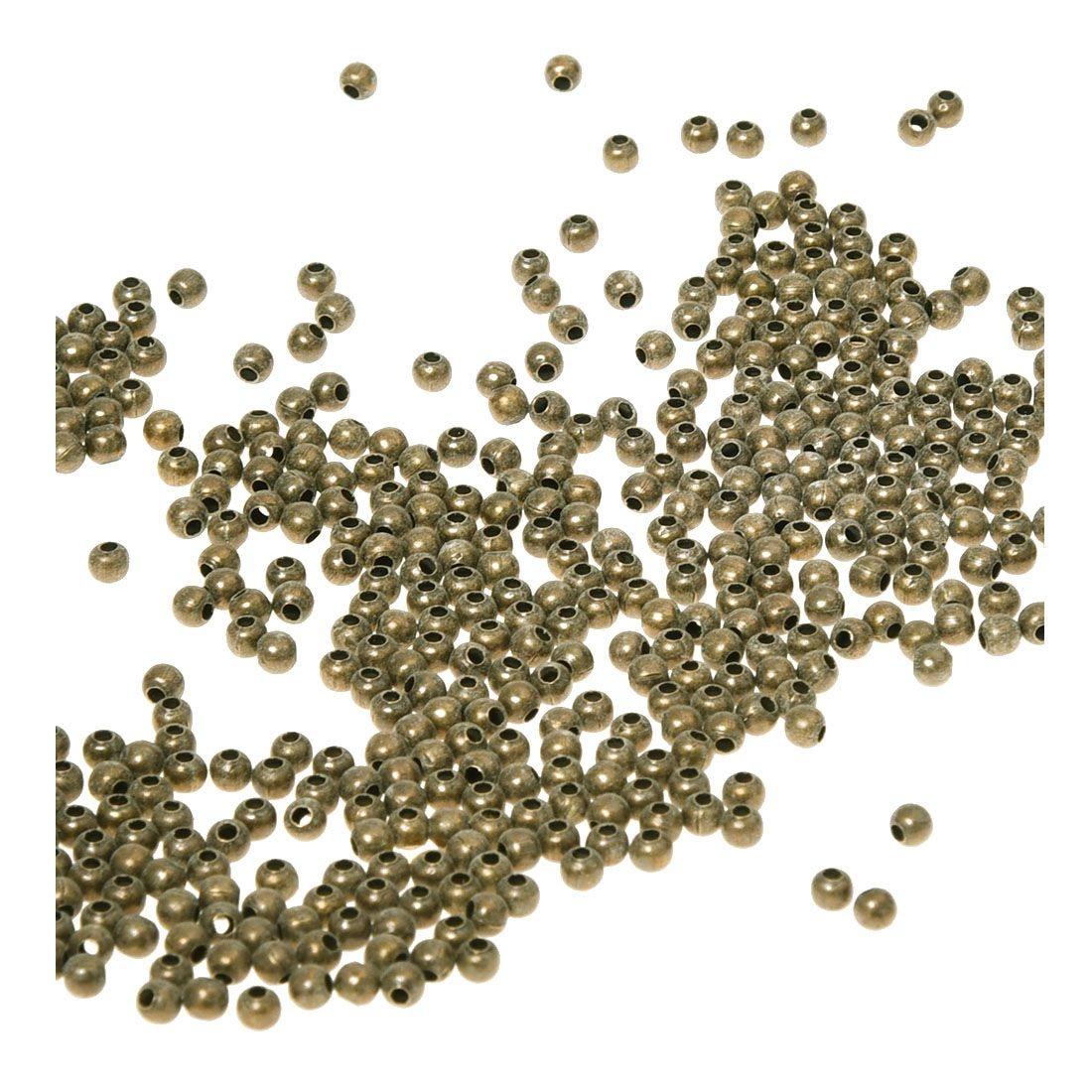 500 шт крошечные Металлические Круглые бусины для изготовления ювелирных изделий, 3,2 мм, античная бронза
