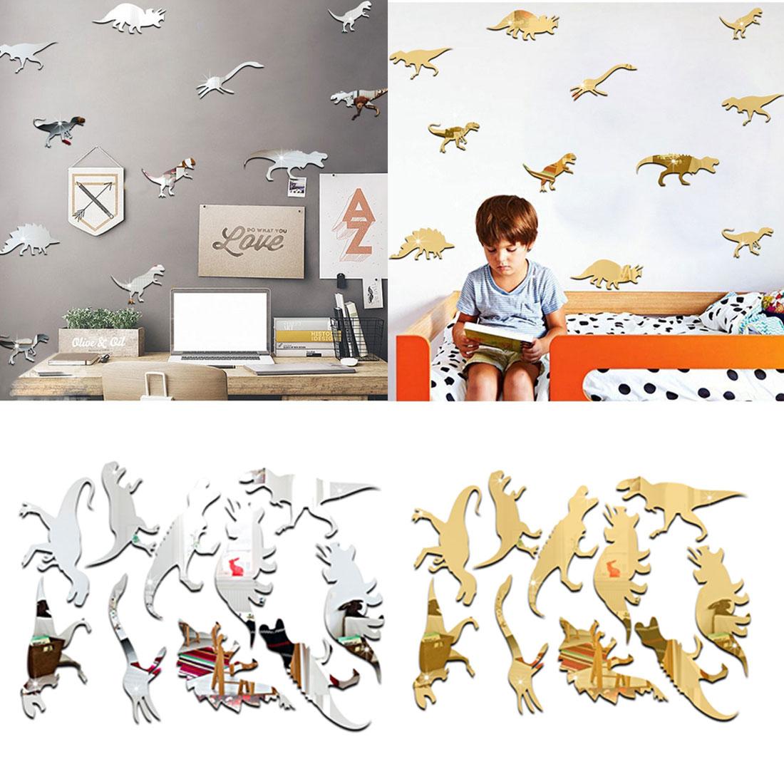 Mirror Surface Cartoon Dinosaur Wall Sticker Children Room Cute Wall Decal Baby Animal Home Decor Vinyl Removable Sticker