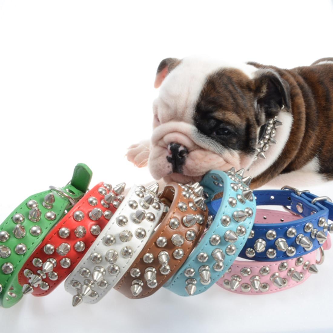 XL-L perro Color caramelo de remache de cuero punta Collar para mascota tachonado perro ajustable cuello Collar Collare de caña