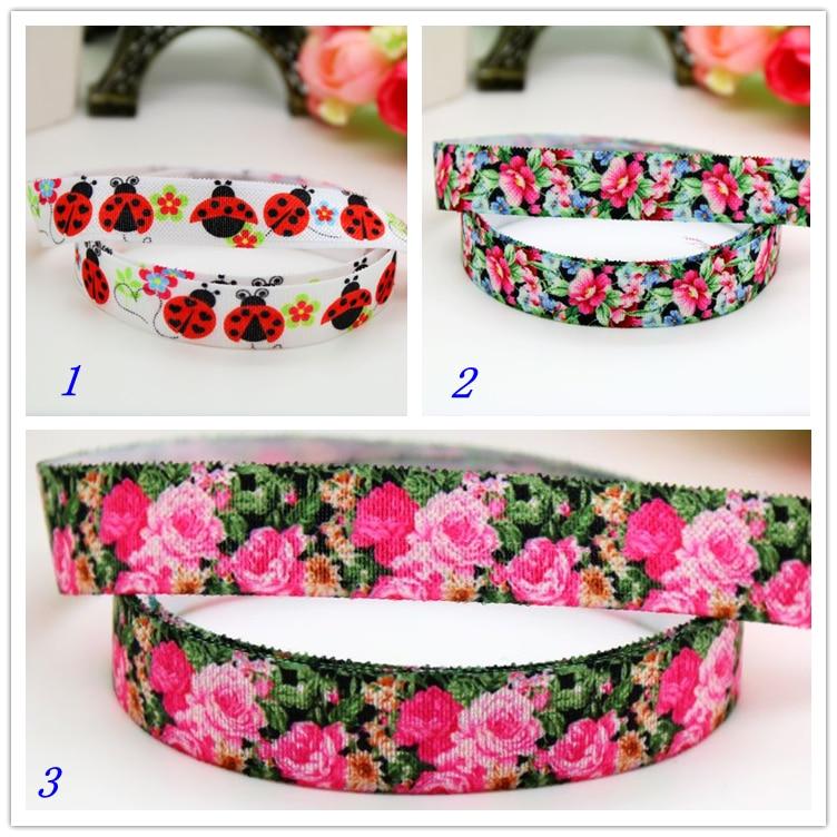 5/8 livraison gratuite pli élastique FOE coccinelle fleurs imprimé bandeau serre-tête bandeau bricolage décoration en gros OEM P5963